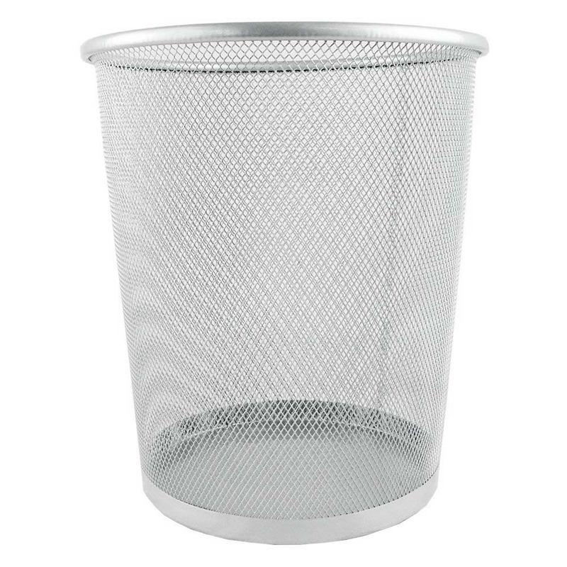 Circular Mesh Bin Waste Paper Basket Bin (Silver)|Waste Bins| |  - title=