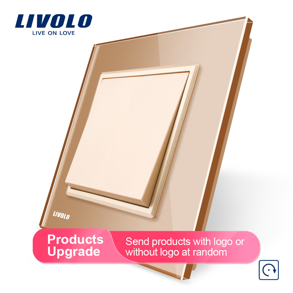 Image 4 - Livolo Manufacturer EU standard Luxury 4 colors crystal glass panel, 1 gang 1 way Push Reset switch, VL C7K1H 11/12/13/15-in Switches from Lights & Lighting