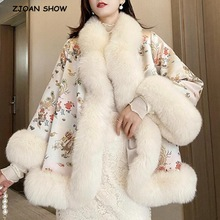 Women Jacket Faux-Fox-Fur-Coat Long-Sleeve Chinese-Style Winter Outerwear High-Quality
