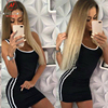 Women Casual Sport Dress Patchwork Design Side Stripe Decor O-Neck Slim Mini Sportswear Tennis Mini Dress 2