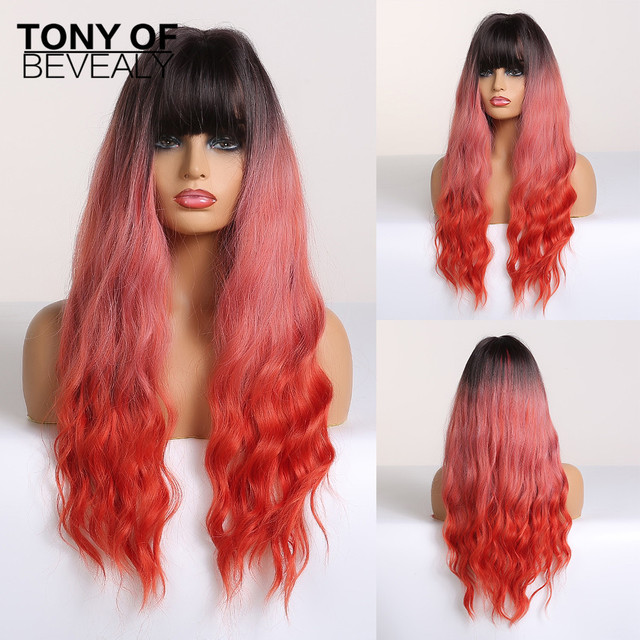 Synthetic Wigs Long Wavy Light Brown Natural Hair Wigs With Bangs