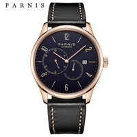 Reloj Parnis de negocios  reloj de cuero para hombre  relojes mecánicos automáticos  calendario  fecha automática  reloj de movimiento Miyota para hombre  2019  regalo para hombre Relojes mecánicos     -