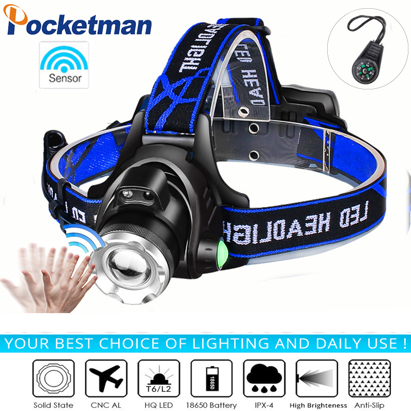 Super Bright Led Headlamp L2/T6 Zoomable Headlight Head Torch Flashlight Head Lamp By 18650 Battery For Fishing Hunting Climbing