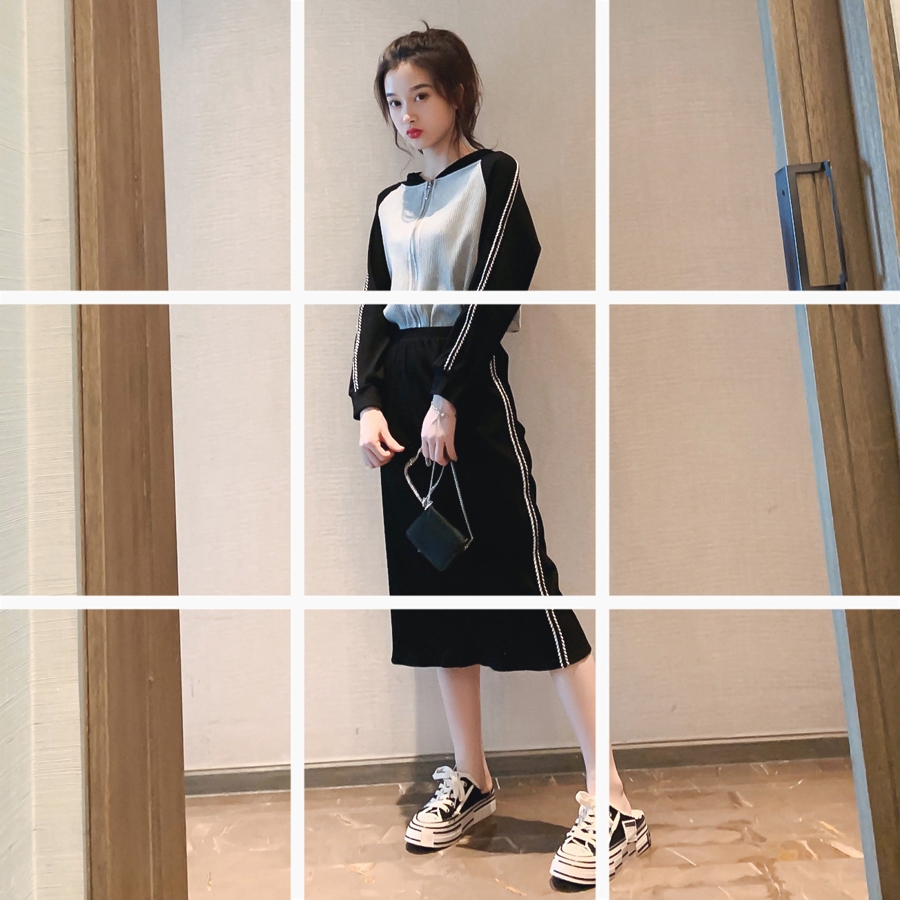 Early Autumn WOMEN'S Suit 2019 New Style Korean-style Contrast Color Joint Zipper Hoodie Mid-length Skirt Two-Piece Set