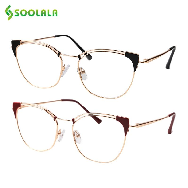 SOOLALA Reading-Glasses Presbyopia Magnifying Lightweight Designer Women Alloy Cat-Eye