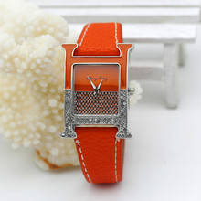 Casual Female square shaped WristWatch Leather paint Rhinestone Designer Ladies Clock women Dress