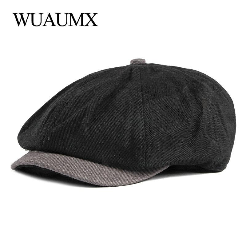 Wuaumx Spring Herringbone Flat Caps Eight Blade Cap Octagonal Hats Men Newsboy Caps Painters Hats Cotton Berets Bonnet Homme
