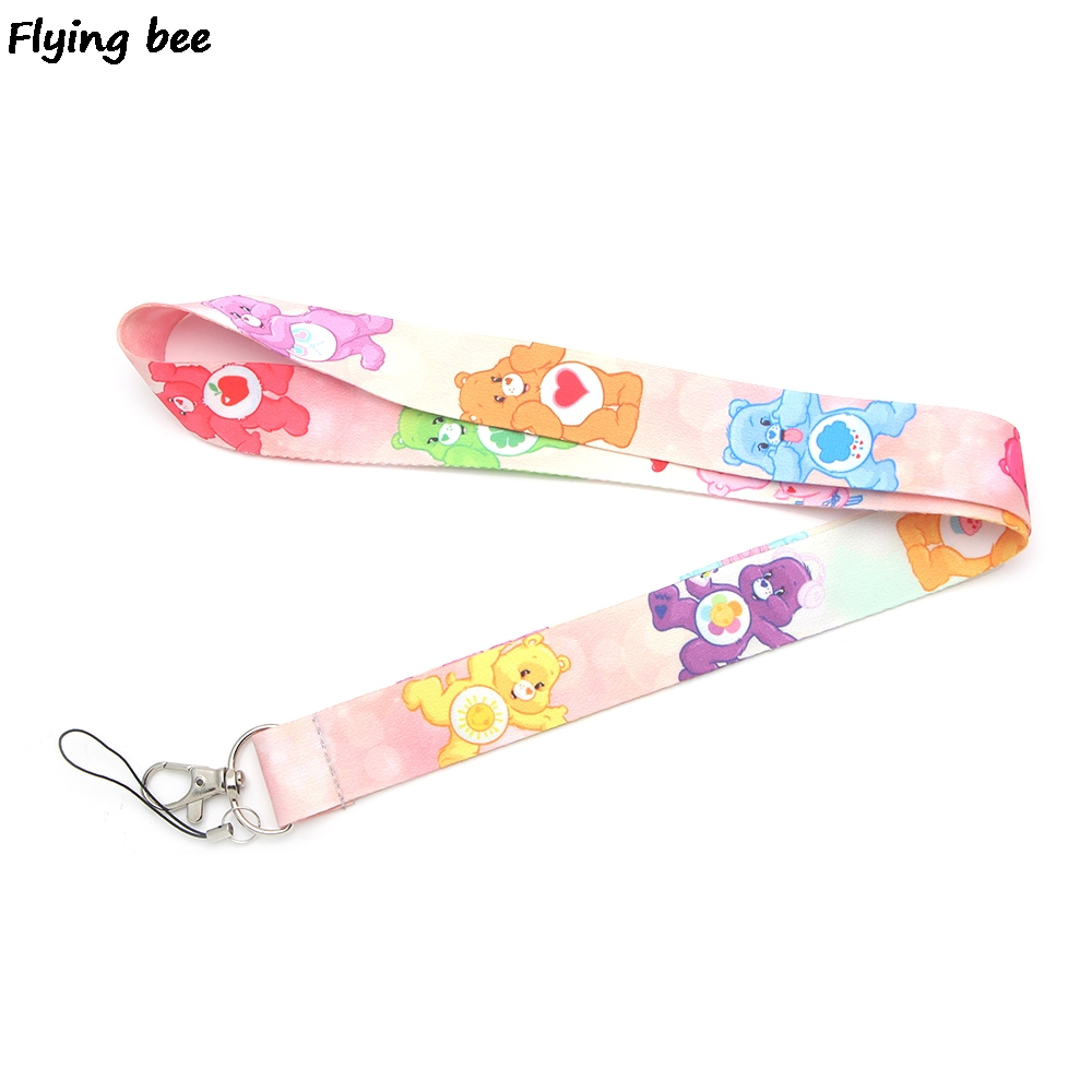 Flyingbee Kawaii Care Bears Lanyard Cute Keychain Keys Holder Women Strap Neck Lanyards For Keys ID Card Phone Lanyard X0375