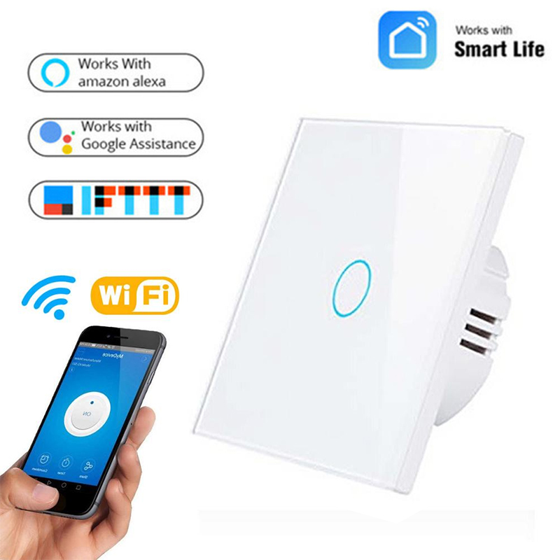 ZUCZUG Wifi Smart Light Switch Wall Touch Screen 1 2 3 Gang Voice Control Timing Switch Compatible With Alexa Google Home - EU