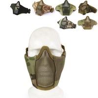 Halb Niedrigeren Gesicht Metall Stahl Net Mesh Jagd Taktische Schutz Airsoft Maske Ohr Mund Schutz CS Camouflage Gesicht Maske-in Masken aus Sicherheit und Schutz bei