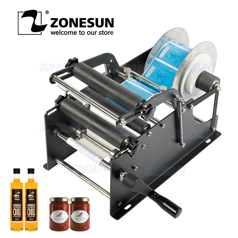 ZONESUN Simple Manual Beer Cans Water Wine Glass Adhesive Sticker Labeler Applicator Plastic Round Bottle Iabeling Machine