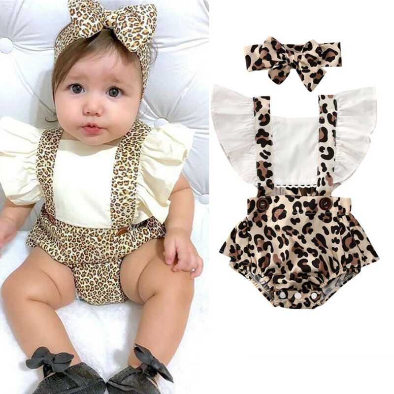 Newborn Baby Girl Ruffle Romper Headband Clothes Outfits Hot Sale