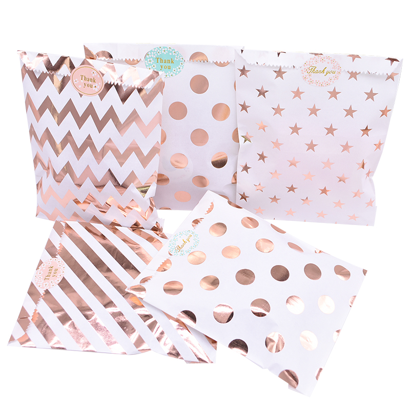25pcs/pack 18cm Gift Bags Paper Pouch Rose Gold Paper Food Safe Bags Birthday Wedding Party Favors Gift Bags Packing For Guests