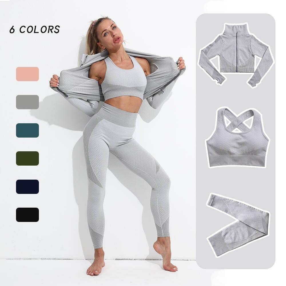 Бесшовная одежда для тренажерного зала, комплект для йоги, женская одежда для фитнеса, Женский Топ с длинным рукавом, спортивный комплект, ж...