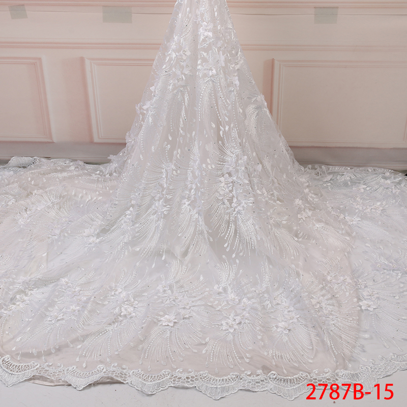 Best Selling Fabric Lace Nigerian 2019 High Quality White Lace Fabric New Arrival 3D Applique Laces For Party Dresses KS2787B-15
