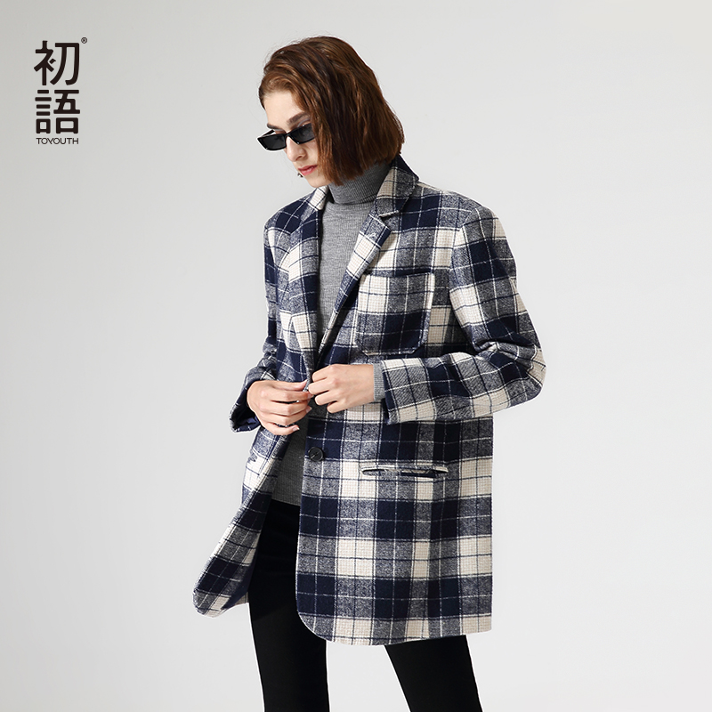 Toyouth British Style Plaid Blazers For Women Workwear Wool Suit Single Breasted Long Sleeve Outwear Coat
