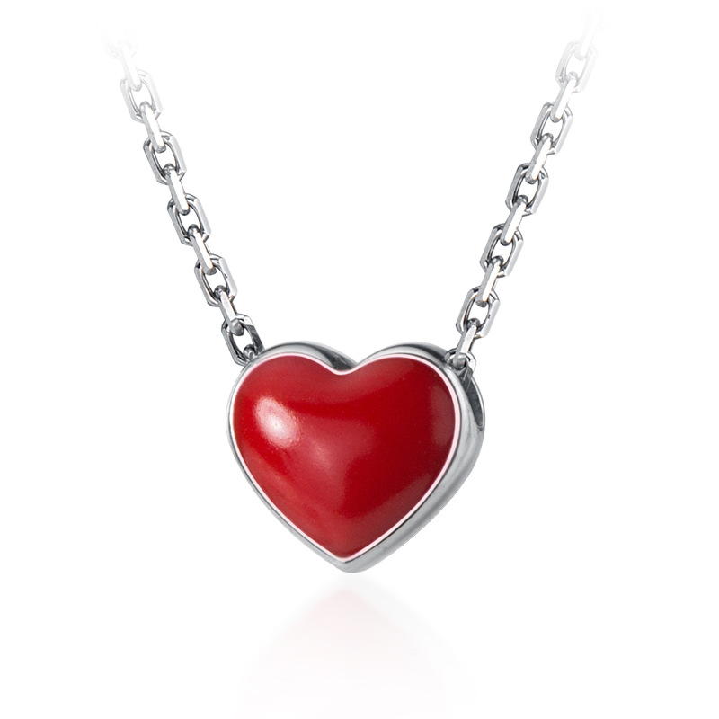 100% Real 925 Sterling Silver Red Heart Necklaces & Pendants For Women Fashion Choker Necklace Valentine Day Gift Dropshipping