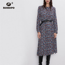 ROHOPO Long Sleeve V Collar Tiny Floral Midi Dress Top Buttons Fly Autumn Straight Vintage Printed Mid Calf Length Vestido #9269