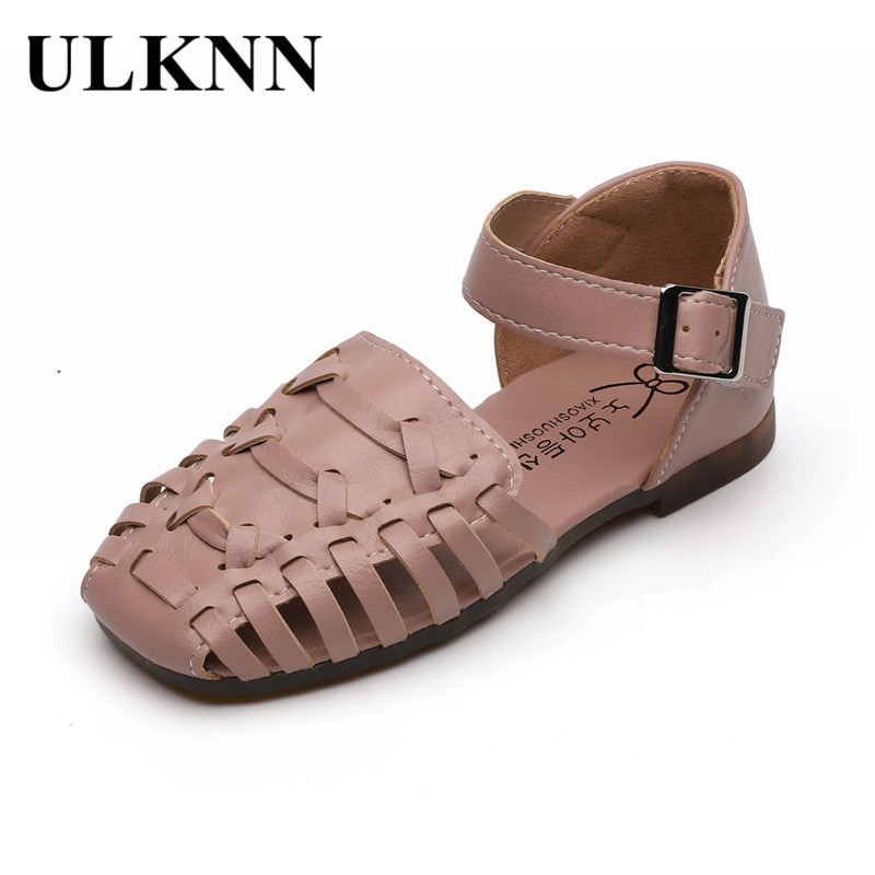 ULKNN CHILDREN'S Sandals 2020 Spring And Summer New Style Candy-Colored Pump Girls Hollow Out Shoes Rome Woven Shoes