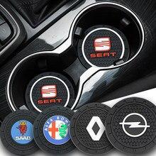 2pcs Carro Anti deslizamento da almofada Do Copo Coaster Do Emblema para BMW M 1 3 5 7 série M3 M5 e60 F10 F07 E90 F30 E89 E85 E91 X1 X3 X4 X5 X6 Carro Bens