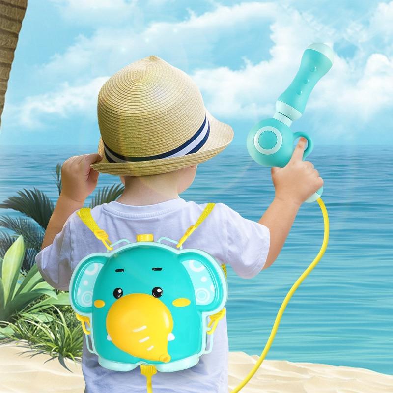 Children Summer Portable Elephant Backpack Water Squirt Gun Kids Water Toys Kids Gun Swimming Pool Water Gun Bathing Beach Toy
