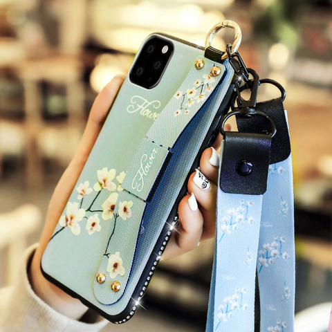 Finger ring Wrist Strap stand case for apple iphone 11 pro max iphone11 11pro 11max luxury Diamond bling soft phone back cover Pakistan