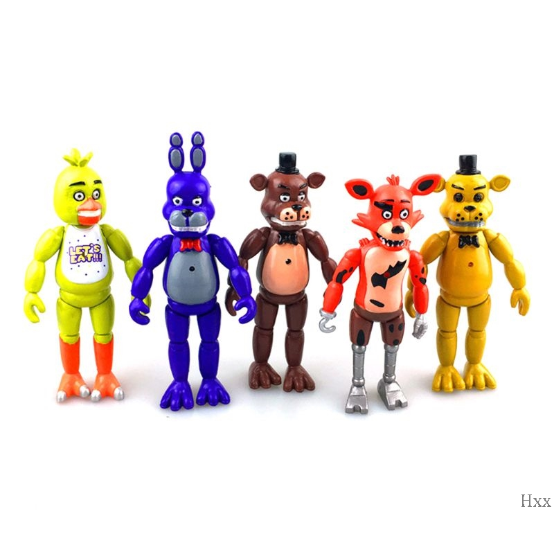 New 5 Pcs Five Nights At Freddy's FNAF 6'' Action Figures With Light Toys Gifts Garage Kits Doll Decoration