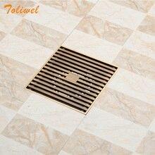 12cm x12cm Square Bathroom Shower Drain Floor Trap Waste Grate Wire Style Antique Brass 15 x 15 square bathroom shower drain floor drain trap waste grate antique brass grid drain