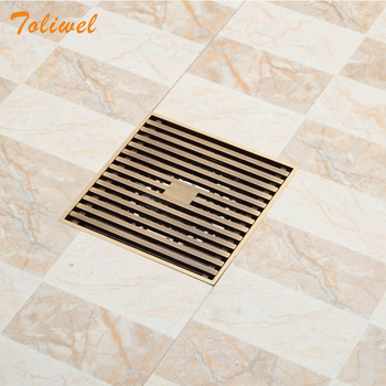 12 x 12cm Square Bathroom Shower Drain Floor Drainer Trap Waste Grate Strainer Wire floor drains Antique Brass 3782169 wall drain floor large traffic sus304 30cm drainer bathroom shower drainage waste drain big flow rate refuse nasty smell drains