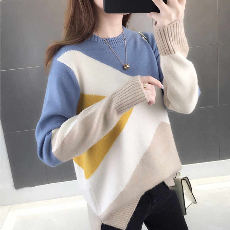 New Fashion Patckwork Sweater Women Pullover Jumper Long Sleeve Thick Winter Clothes Korean Rainbow O-neck Knit Sweaters P237