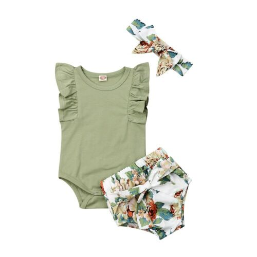 0-24 Months UK Newborn Baby Girls Clothes Ruffle Sleeve Romper Floral Shorts Headband Outfit