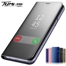 Умный чехол-книжка для Samsung Galaxy S7-S10E, Note 8-10 Pro, A10, A30-A50, A70, A80, M20, M30, A7, J4/J6 Plus, зеркальный
