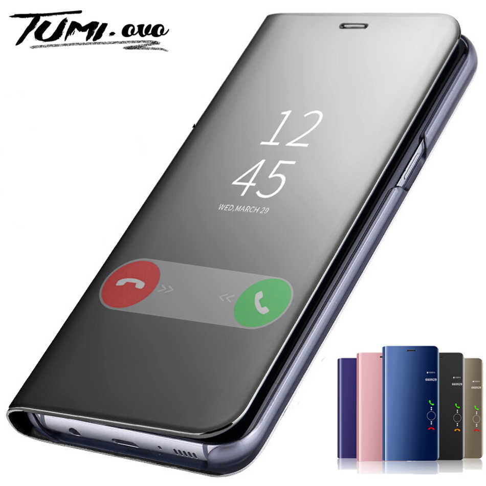 Espejo caso de tirón para Samsung Galaxy A10 A30 A40 A50 A70 A80 M20 M30 J4 Plus J6 2018 S7 borde S8 S9 más S10 Nota 10 Pro 8 9 cubierta