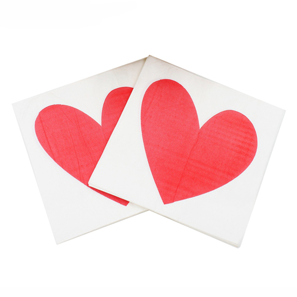 [Currently Available] Color Printing Wedding Napkin Red Heart Printed Paper Towel Kleenex RUWD-15