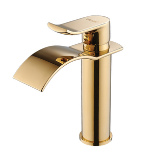Image 4 - Basin Faucet Gold and white Waterfall Faucet Brass Bathroom Faucet Bathroom Basin Faucet Mixer Tap Hot and Cold Sink faucet
