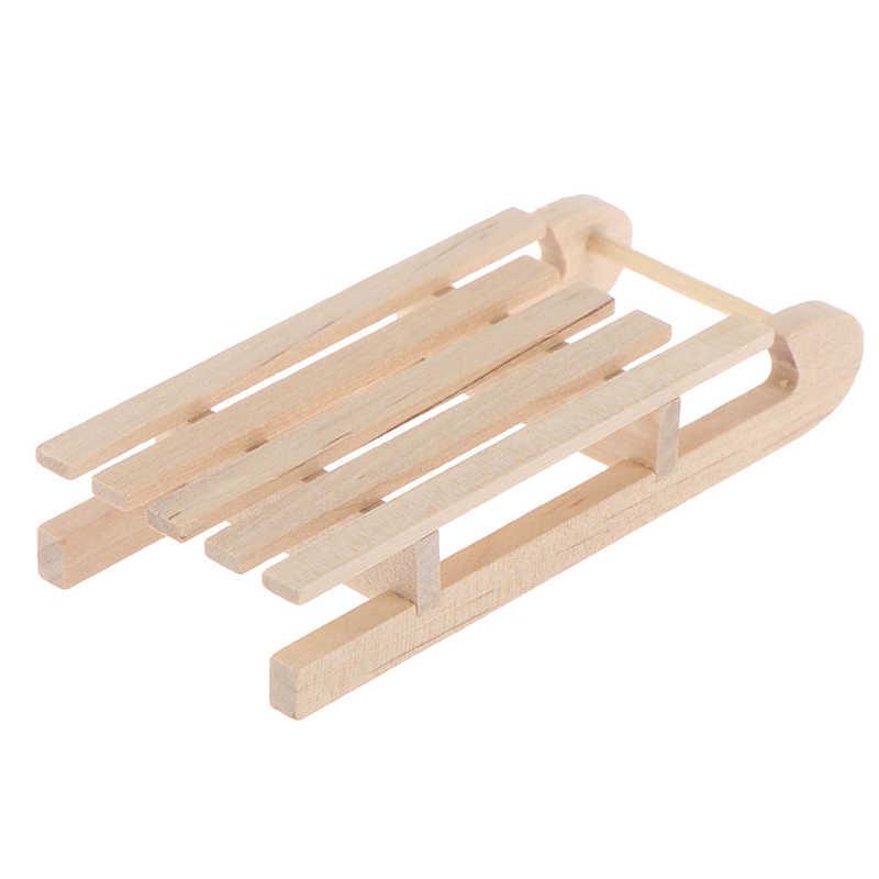 1/12 mini trenó de madeira presente caixa modelo diy natal paisagem boneca casa acessório 8.5cm x 3.2cm x 1.5cm