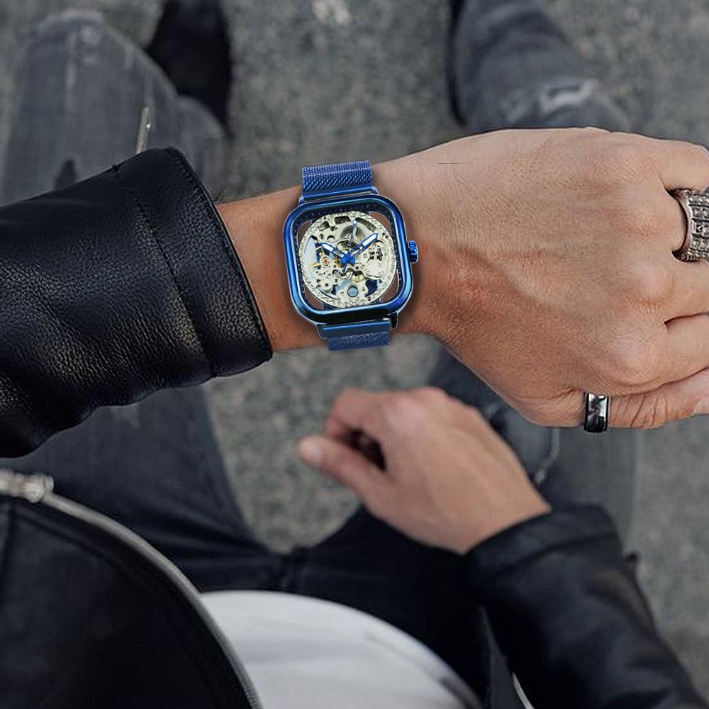 Ha7c2d29040404122b530467ba13582e1Y FORSINING Top Brand Luxury Unisex Watch Men Auto Mechanical Hollow Dial Magnet Strap Fashion Royal Wristwatch HIP HOP Male Clock