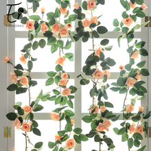 Erxiaobao High Quality Pink Red White Fake Rose Vine Artificial Flowers Silk Flower String Rattan Home Party Wedding Wall Decor
