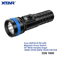 Xtar D26 1600 Wide View Angel 16340 26650 18650 Powerful Diving Light Cree XHP35 Magnetic Press Switch Underwater Flashlights