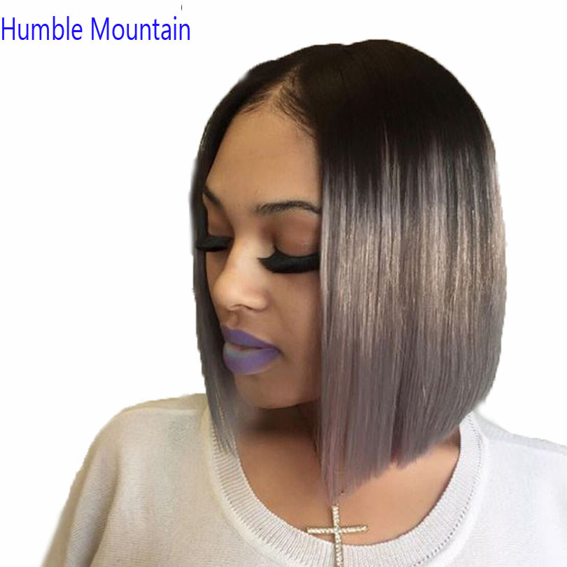 Hair Brazilian Human Hair Short Full Lace Wig 1B Grey Remy Hair 180Desnity Straight Bob 613 Wig Pre Plucked Hairline Baby Hair