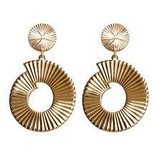 купить Hello Miss New fashion earrings geometric shape texture alloy earrings women's earrings jewelry gifts дешево