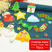 Christmas Cookie Cutter Set - 15pcs -Cookie Tools Mould Biscuit Press Mold Cake Decorating for Holiday Birthday Party
