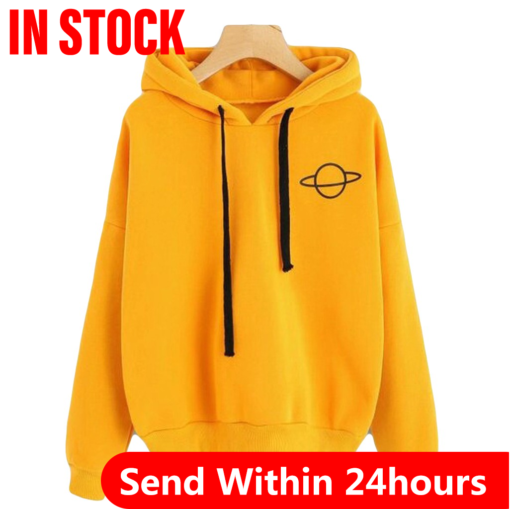 Women Hoodies Casual Kpop Planet Print Solid Loose Drawstring Sweatshirt Long Sleeve Hooded Autumn Female Pullover