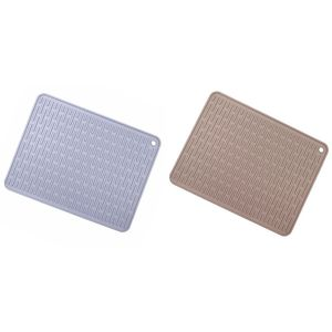 2 Pcs Large Silicone Placemat Dish Drying Mat Kitchen Draining Table Drain Mat Sink Non-Slip Pad Brown & Dark Gray