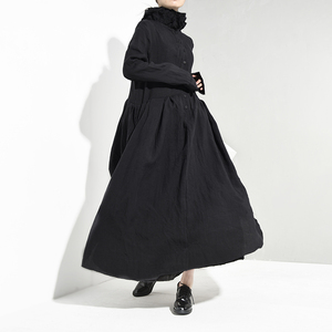 Image 3 - [EAM] vestido largo negro plisado asimétrico con cuello alto nueva manga larga corte holgado moda tendencia primavera otoño 2020 JI0980