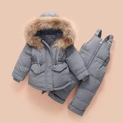 ¡Novedad de 2019! Chaqueta de invierno para niños, pantalones con tirantes para bebé, traje de esquí de pelo de mapache para niñas y niños