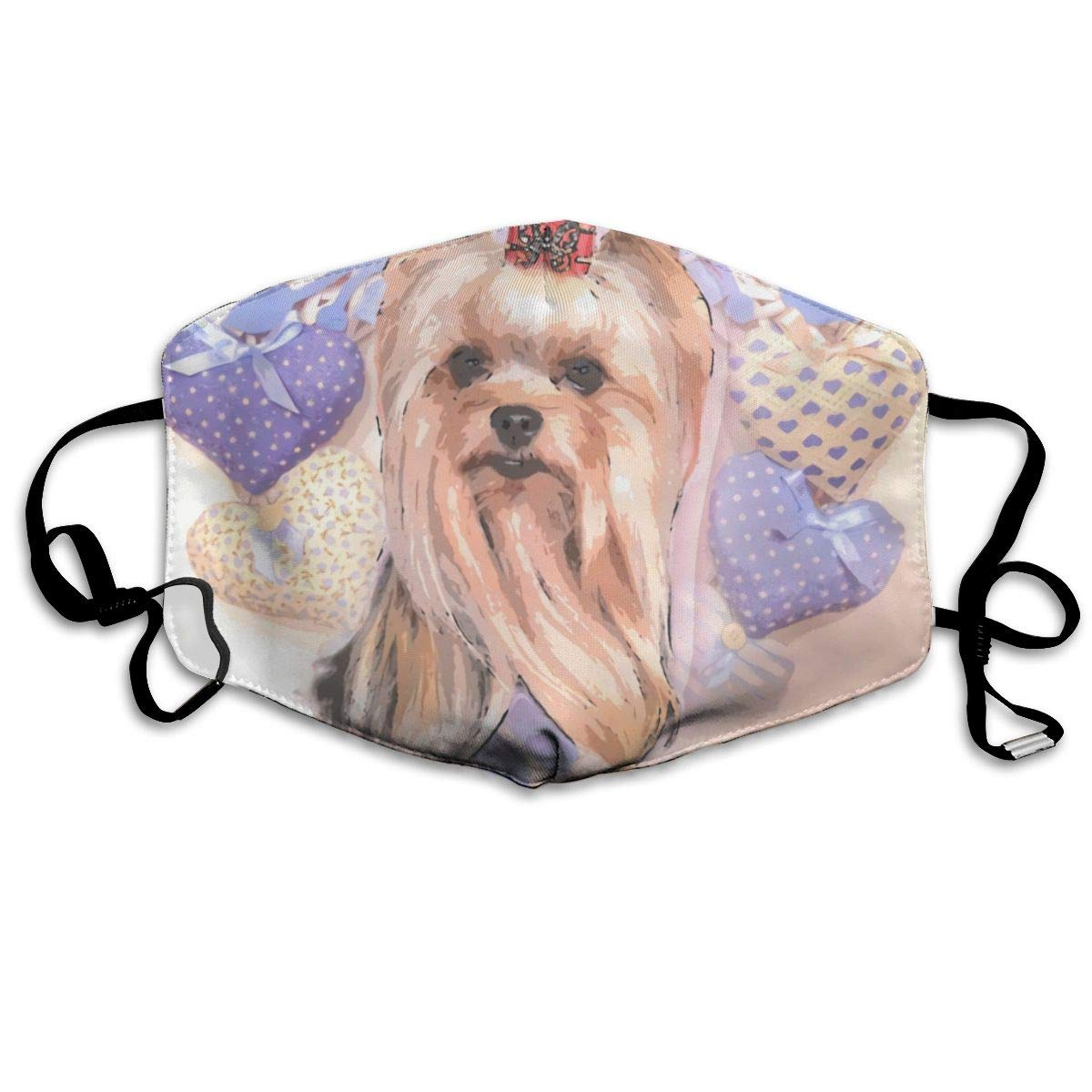 Yorkie Sweet Washable Reusable   Mask, Cotton Anti Dust Half Face Mouth Mask For Kids Teens Men Women With Adjustable Ear Loops