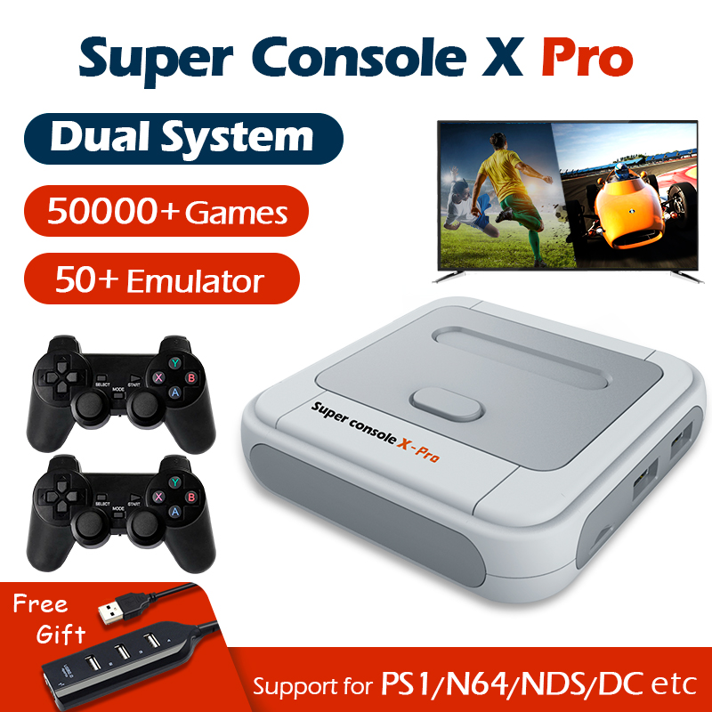 Супер консоль X Pro видео игровые консоли Wi-Fi 4K HD для PSP/PS1/N64 Ретро Мини ТВ приставка игровой плеер с 50 + эмулятором 50000 + игр