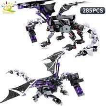 цена на 285PCS Enderdragon Building Blocks Legoing Minecrafted Steve Figures Technic My World Defeat Dragon Bricks Toys For Children