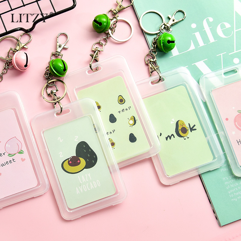 Cute Avocado Cat Badge Card Holder Nurse Doctor Exhibition Pull Key Srudent Card Badge Holder With Bell School Office Supplies